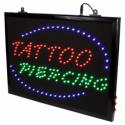 Segnale LED da Studio Tatuaggi 'Tattoo + Piercing' con Catena